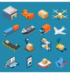 Isometric Logistic Icons vector image vector image