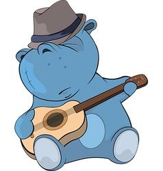 Little hippo guitarist cartoon vector