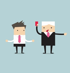 Manager showing a red card to businessman vector