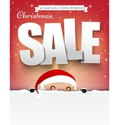 Merry christmas sale text with santa claus eps10 vector image vector image