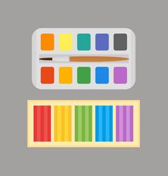 Multicolor watercolour paint box and plasticine vector