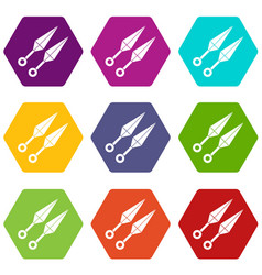 ninja weapon kunai icon set color hexahedron vector image vector image