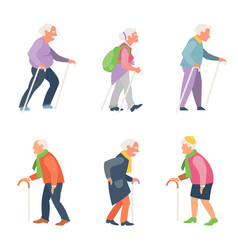 nordic walking old people travelers with canes vector image