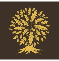 oak tree silhouette isolated on brown background vector image