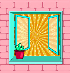 open window cactus pop art vector image vector image