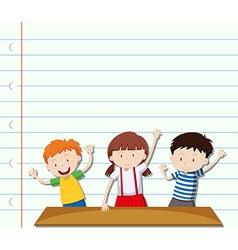 Paper design with three children vector