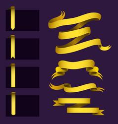 realistic gold ribbons tape flag banner elegance vector image