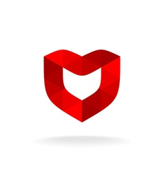 Red shield with heart shape Color triangles style vector image vector image