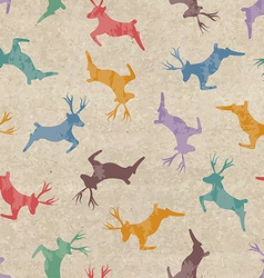 Retro Christmas seamless pattern with deers vector image vector image