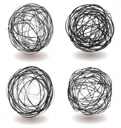 scribble ball icon vector image vector image
