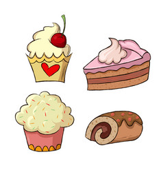 set of cake vector image