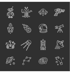 sixteen stylish space icons vector image