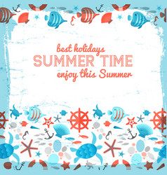 summer background with frame painted by brush vector image vector image