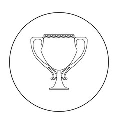 Trophy icon in outline style isolated on white vector