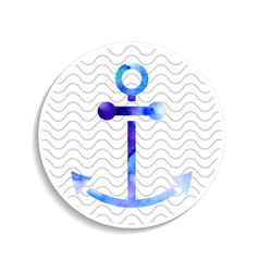 Watercolor anchor on wavy background vector