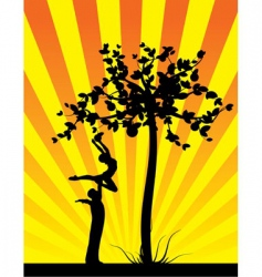 yellow shine apple tree vector image vector image