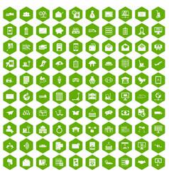 100 postal service icons hexagon green vector
