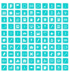 100 stationery icons set grunge blue vector