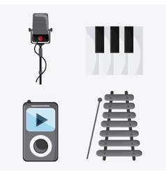 Microphone piano mp3 music sound media festival vector
