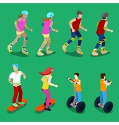 Isometric active sporty people on roller-skates vector