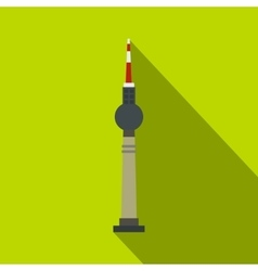 Tv tower berlin icon flat style vector