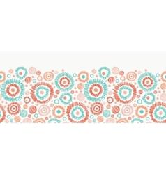 Doodle textured circles horizontal seamless vector image