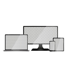 realistic computer laptop tablet and mobile vector image