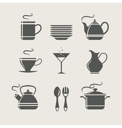 kitchen tableware set of icons vector image