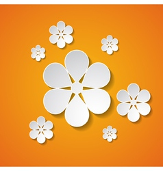 Paper flowers on the orange background vector