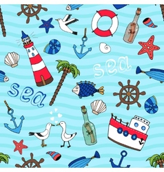 Nautical seamless pattern in retro style vector