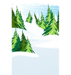 Snow covered pine forest vector