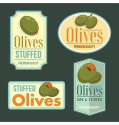Set of ripe olives badges vector