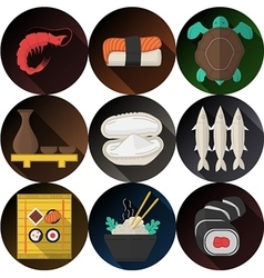 Stylish flat icons collection for seafood vector