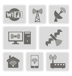 Monochrome icons with wi-fi symbols vector