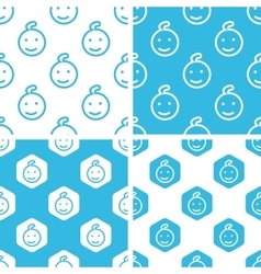 Child face patterns set vector