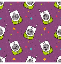 Seamless pattern with baby monitor vector