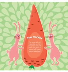 Cartoon rabbits and big carrot vector