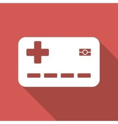 Medical insurance card flat square icon with long vector