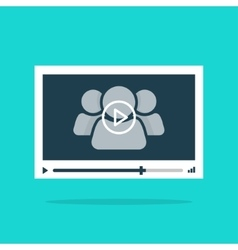 Video player interface abstract 3 persons play vector image