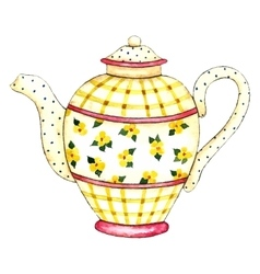 Watercolor teapot vector