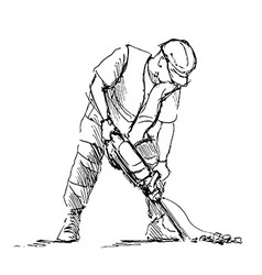Hand sketch worker with a jackhammer vector