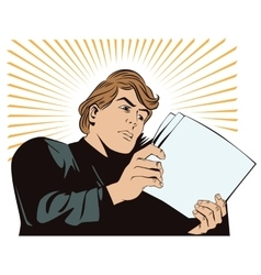 An man reads the documents news and fac vector