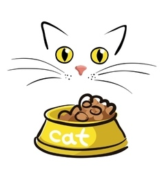 Cat face with bowl on white background vector