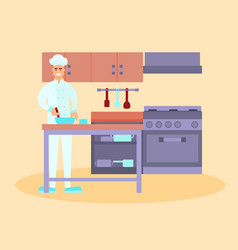 chef in the restaurant kitchen vector image vector image