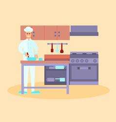 Chef in the restaurant kitchen vector