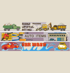 colored hand drawn cars horizontal banners vector image vector image