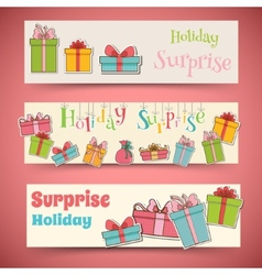 Colorful vintage gift postcard banners concept vector