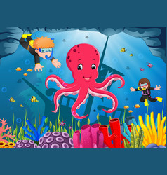cute octopus under the sea with boy and girl vector image vector image
