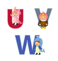 english alphabet with kids in animal costume u-w vector image vector image