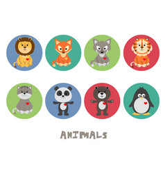 funny animal icon set vector image